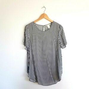 H&M Striped Blouse SZ 10 Black White Short Sleeve